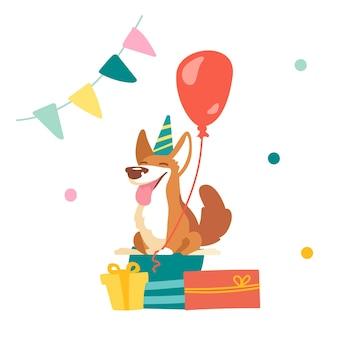 Pies kawaii corgi świętuj urodziny w pokoju ozdobionym flagową girlandą i konfetti. ładny zabawny charakter zwierzaka w świąteczny kapelusz siedzący na owinięte prezenty z balonem. ilustracja kreskówka wektor