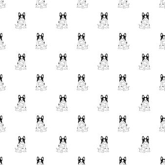 Pies kot bez szwu wzór buldog francuski kotek kreskówka