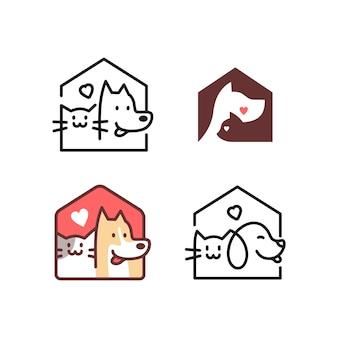 Pies kot domu logo domu wektor ikona linii zarys sztuki