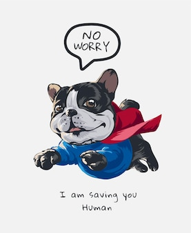 Pies kreskówka latający kostium bohatera ilustracji