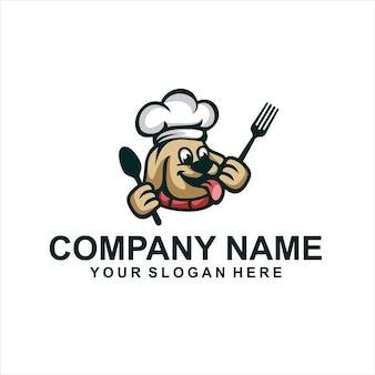 Pies kucharz zwierząt logo wektor