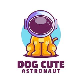 Pies ładny Szablon Logo Astronauty Premium Wektorów