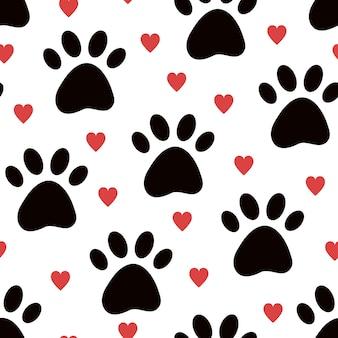 Pies lub kot zwierzę łapa bezszwowe tło wzór z sercami śliczne tekstury