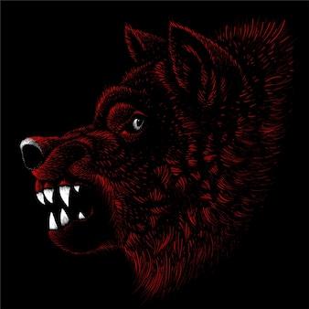 Pies lub wilk do projektowania tatuażu lub t-shirtów lub odzieży wierzchniej. uroczy pies lub wilk