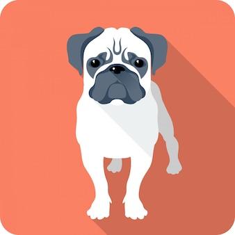 Pies mops clipart płaska konstrukcja
