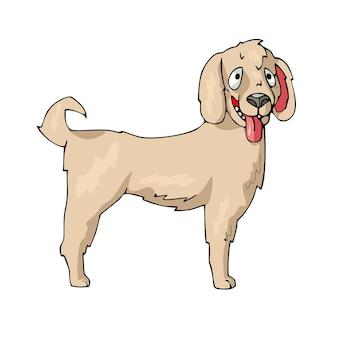 Pies na białym tle wektor ładny kreskówka