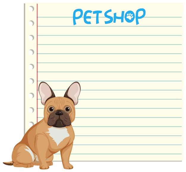 Pies na pustym szablonie notatki