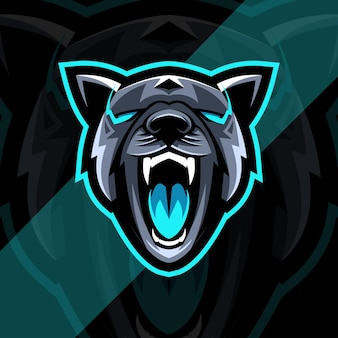 Pies pitbull zły maskotka logo szablon projektu esport