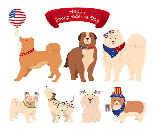 Pies postać kreskówka zestaw amerykański dzień niepodległości, patriotyczne zwierzę domowe różne psy z flagą usa