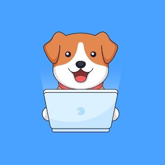 Pies pracujący na komputerze przenośnym maskotka ilustracja kontur zwierząt pracownika