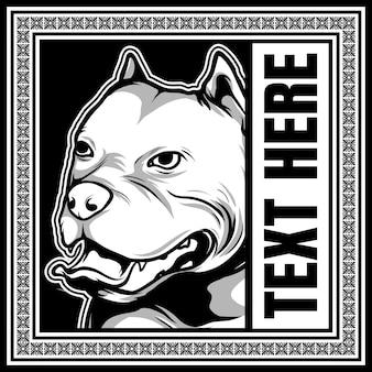 Pies rasy amerykański pit bull ręka rysunek wektor