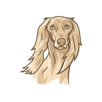 Pies saluki - wektor logo / ikona ilustracja maskotka