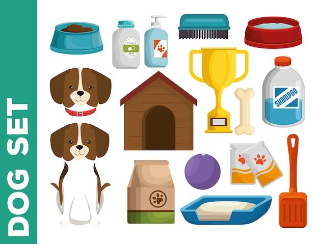 Pies sklep zoologiczny zestaw ikon