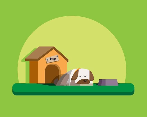 Pies spać i dom dla psa, leniwy pies kreskówka płaska konstrukcja