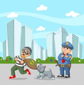 Pies stróżujący gryzący worek pieniędzy od złodzieja na ilustracji miasta