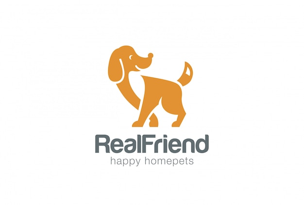 Pies sylwetka logo szablon styl negatywnej przestrzeni.
