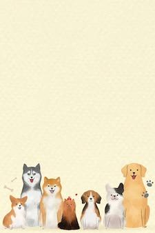Pies tło z uroczymi zwierzętami ilustracyjnymi