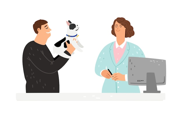 Pies u weterynarza. wychodzi szpital, właścicielka z psem