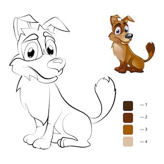 Pies w kolorze. kolorowanka dla dzieci w wieku przedszkolnym. kreskówka dla zwierząt, książka do rysowania, szczęśliwa postać zwierzęcia
