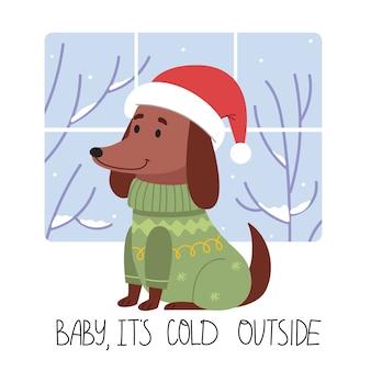 Pies w zimowym ubranku, kochanie na dworze zimno, zabawny jamnik w zimowym swetrze i czapce mikołaja.
