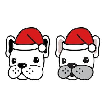 Pies wektor buldog francuski głowa boże narodzenie santa claus kapelusz