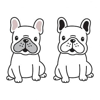 Pies wektor buldog francuski ikona logo szczeniak postać z kreskówki