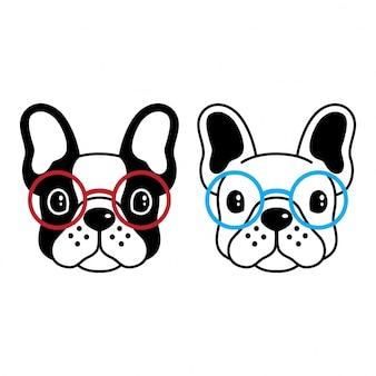 Pies wektor buldog francuski okulary kreskówka