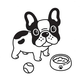 Pies wektor buldog francuski piłka zabawka jedzenie miska