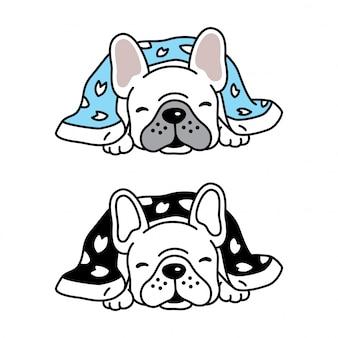 Pies wektor buldog francuski szczeniak spanie koc kreskówka