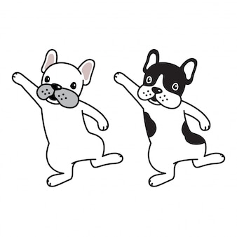 Pies wektor buldog francuski szczeniak taniec kreskówka