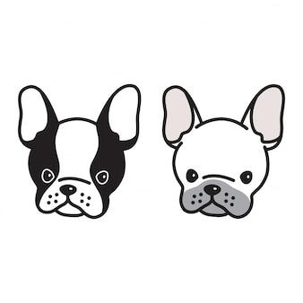 Pies wektor buldog francuski twarz kreskówka