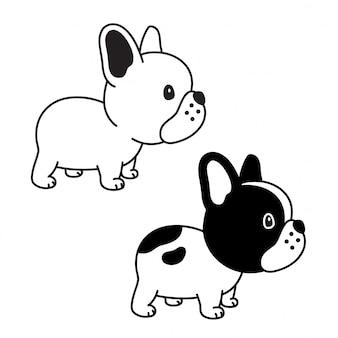 Pies wektor ikona buldog francuski ikona szczeniak