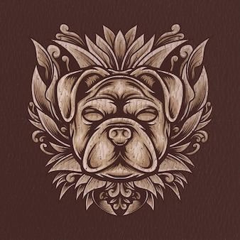 Pies z grawerowanym ornamentem