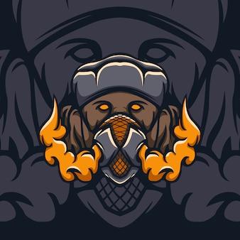 Pies z ilustracją maski bezpieczeństwa