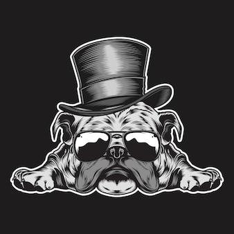 Pies z kapeluszem i eyeglasses ilustracyjnymi