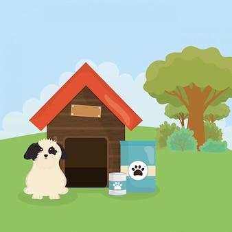 Pies z karmą w puszkach domowych i opieką dla zwierząt domowych