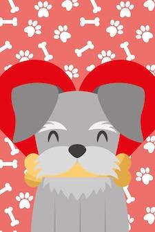 Pies z kością w łapach ust kocha serce