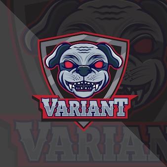 Pies z tarczą maskotka szablon logo esport i zespół tshirt
