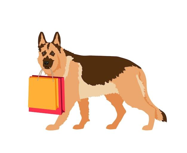 Pies z torbami na zakupy. pies pomocnik. ilustracja wektorowa na białym tle