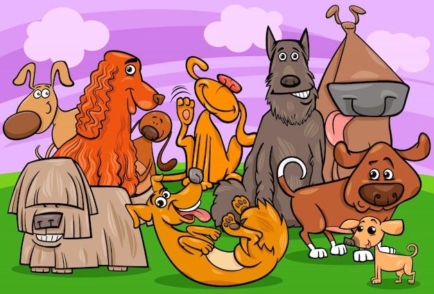 Pies znaków grupa ilustracja kreskówka
