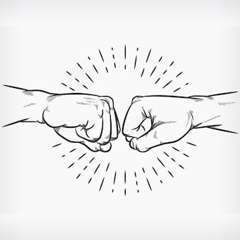 Pięść bump doodle szkic uścisk dłoni