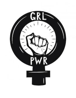 Pięść kobiety. siła dziewczyn. żeński symbol