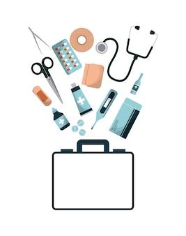 Pięść pomocy teczki ze sprzętem medycznym