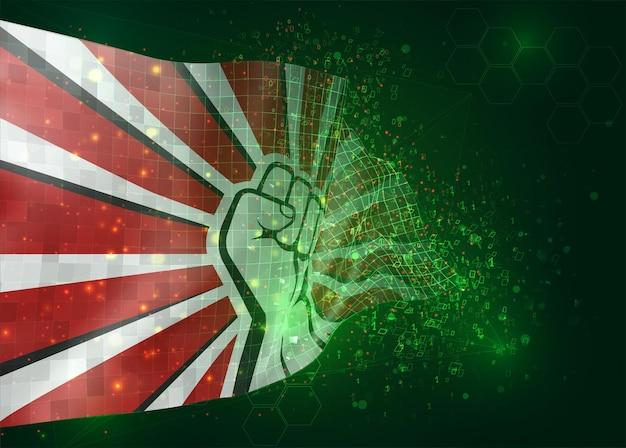 Pięść protestu, na wektorze 3d flagi na zielonym tle z wielokątami i numerami danych