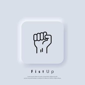 Pięść w górę. sukces, koncepcja siły. pięść dłoni mężczyzny. protest. wektor. ikona interfejsu użytkownika. biały przycisk sieciowy interfejsu użytkownika neumorphic ui ux.