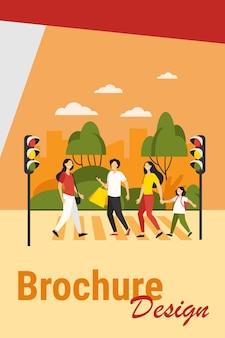 Piesi przechodzący przez ulicę. ludzie przez jezdnię na światłach. ilustracja wektorowa dla przejścia dla pieszych, bezpieczeństwo na drogach, koncepcja obywateli