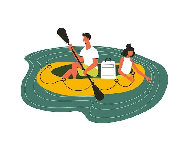 Piesza kompozycja z postaciami doodle mężczyzny i kobiety siedzących na ilustracji nadmuchiwanej łodzi