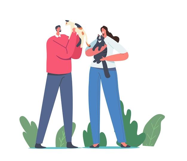 Pieszczoty zwierząt. postacie męskie i żeńskie trzymające słodkie koty, właściciele kobiety i mężczyzny opiekujący się kotkiem. wypoczynek, komunikacja, miłość, opieka nad zwierzętami, beztroska koncepcja. ilustracja kreskówka wektor