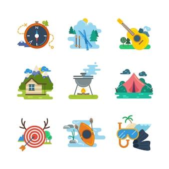 Piesze wycieczki, camping płaskie ikony kolekcja. kajaki i nurkowanie, jazda na nartach i polowanie, ilustracji wektorowych