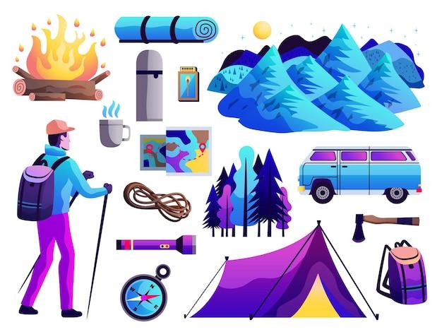 Piesze wycieczki camping survival trip abstrakcyjna kolorowa kolekcja ikon z namiotem turystycznym kompasem ognisko góry na białym tle ilustracji wektorowych